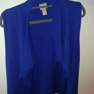 Chico's Blue Vest with Tassles